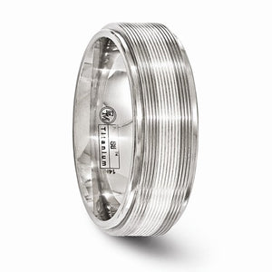 Titanium With 14k White Gold Textured Lines 7.5mm Band