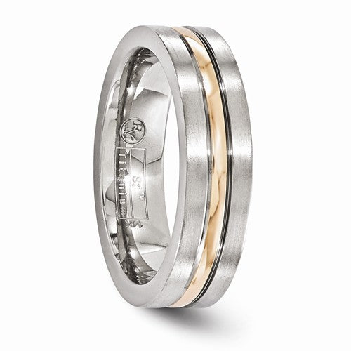 Titanium And 14k Rose Gold Polished/Brushed Grooved 6mm Band
