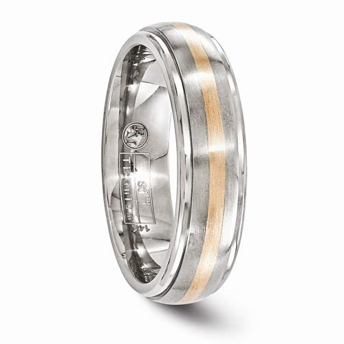 Titanium And 14k Rose Gold Brushed And Polished 6mm Band