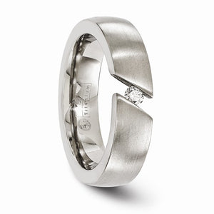 Titanium Brushed Diamond Band