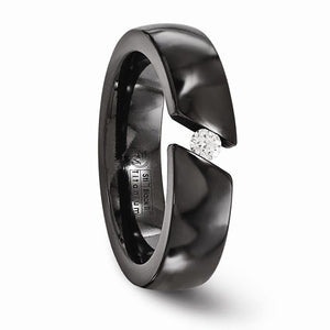 Black Ti .10ct Diamond 6mm Band