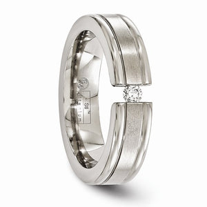 Titanium .10ct Diamond Brushed And Polished 6mm Band