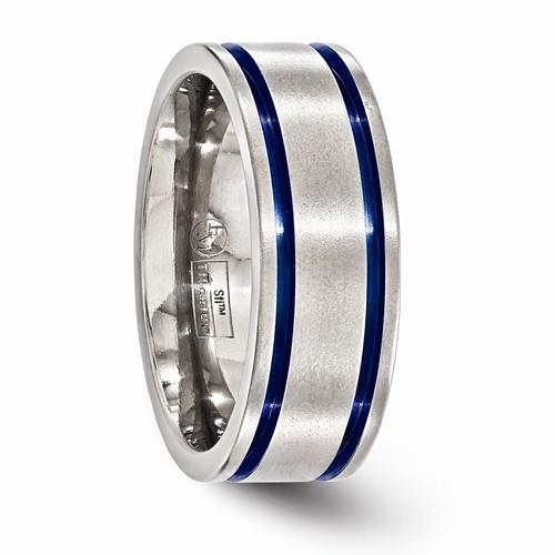 Titanium Brushed Double Groove Blue Anodized 8mm Band