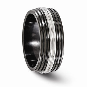 Black Ti And Stainless Steel Polished 9mm Band
