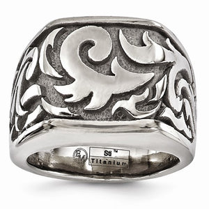 Titanium Casted Design Signet Ring