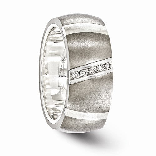 Titanium And Sterling Silver Diamond Ring