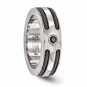 Titanium Spinel With Argentium Silver Bezel And Cable 7mm Ring