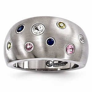 Titanium Multi-Color Sapphire Sterling Silver Bezels Ring