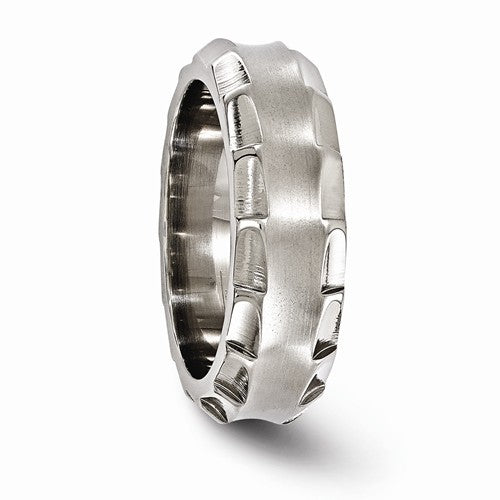 Titanium Faceted Edges Brushed And Polished 8mm Ring
