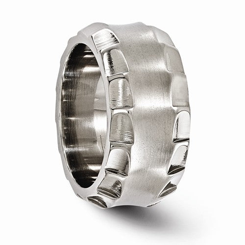 Titanium Faceted Edge Brushed And Polished 12mm Ring