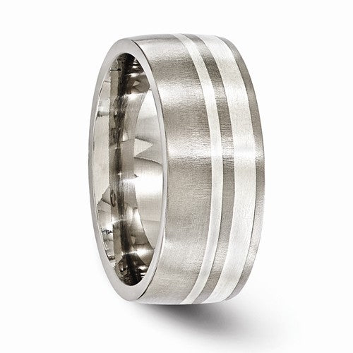 Titanium And Sterling Silver Brushed 9mm Band