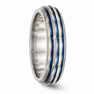 Titanium Triple Groove Blue Anodized Ring
