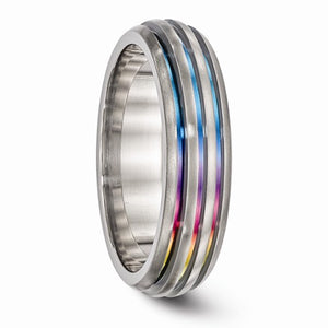 Titanium Triple Groove Multi-Color Anodized Ring