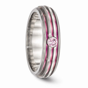 Titanium Trpl Groove Pink Anodized And Pink Sapphire Ring