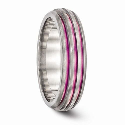 Titanium Triple Groove Pink Anodized Ring