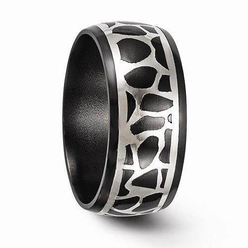 Black Ti And Sterling Silver Polished Cobblestone Ring