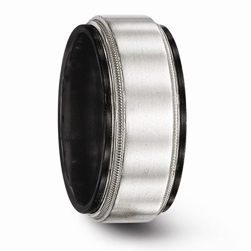 Black Ti And Sterling Silver Brushed And Polished Milgrain Ring