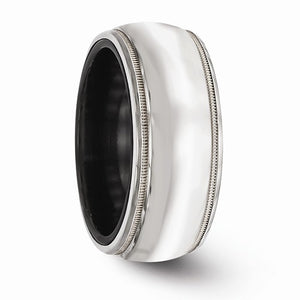 Black Ti And Sterling Silver Polished Domed Milgrain Ring