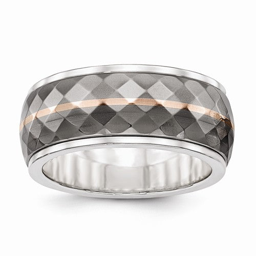 Sterling Silver And Titanium Inlay With 14k Rose Stripe Ring
