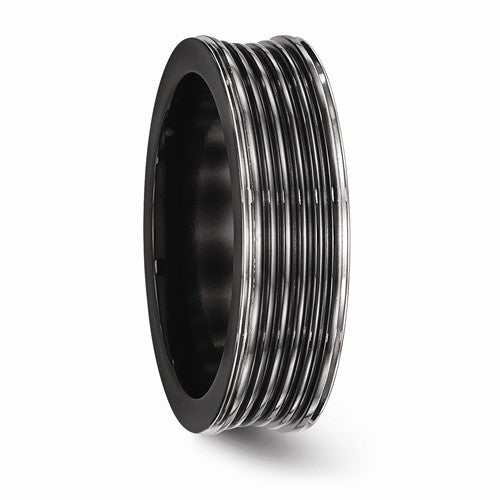 Black Ti Polished Grooved Concave Ring