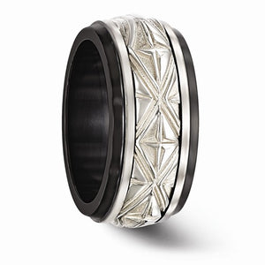 Black Ti And Sterling Silver Inlay Polished Fancy Design Ring