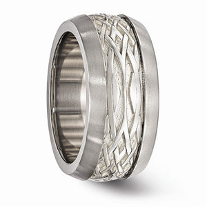 Titanium And Sterling Silver Inlay Polished Weave Ring
