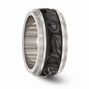 Titanium And Black Ti Inlay Polished Fancy Design Ring