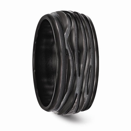 Black Ti Polished Grooved Wave Ring