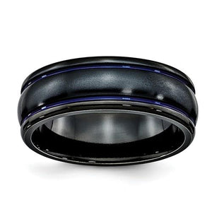 Black Ti Scroll Pattern Blue Anodized 8mm Band
