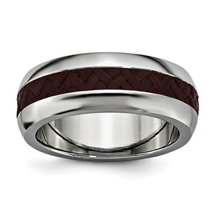Beveled Cobalt Chrome Carbon Fiber Inlay Wedding Band by Edward Mirell