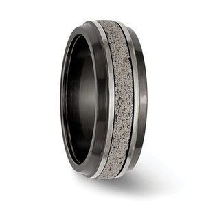 8mm Blk Ti Stepped With Gray Crete Insert Band