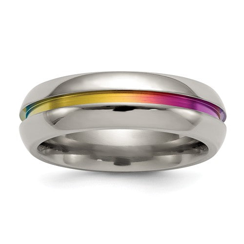 Titanium Multi-Colored Anodized Center 7mm Band