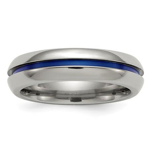 Edward Mirell Titanium Blue-Anodized Center 6mm Band