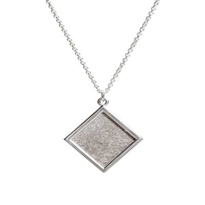 Sterling silver square on point pendant with YOUR fingerprint. Sterling silver chain included Fingerprint Pendant P3