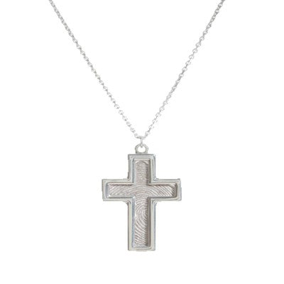 Sterling silver cross shaped pendant with YOUR fingerprint. Sterling silver chain included Fingerprint Pendant P7