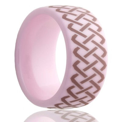 Dome pink ceramic ring all high polish with a laser engraved pattern Wedding Band-PC111-Q