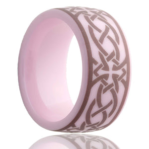 Dome pink ceramic ring all high polish with a laser engraved pattern Wedding Band-PC111-T