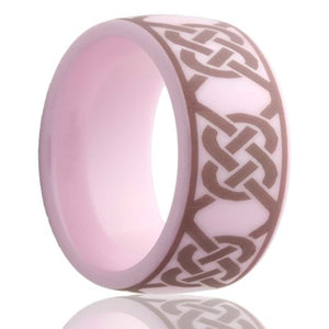 Dome pink ceramic ring all high polish with a laser engraved pattern Wedding Band-PC111-U