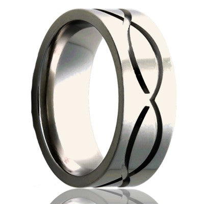 Flat Cobalt ring with a milled pattern Wedding Band-C101M1