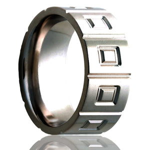 Flat Cobalt ring with a milled pattern Wedding Band-C101M13