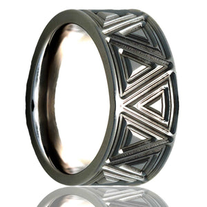 Flat Cobalt ring with a milled pattern Wedding Band-C101M18