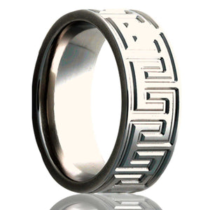 Flat Cobalt ring with a milled pattern Wedding Band-C101M2