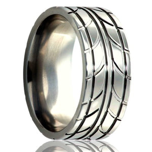 Flat Cobalt ring with a milled pattern Wedding Band-C101M31