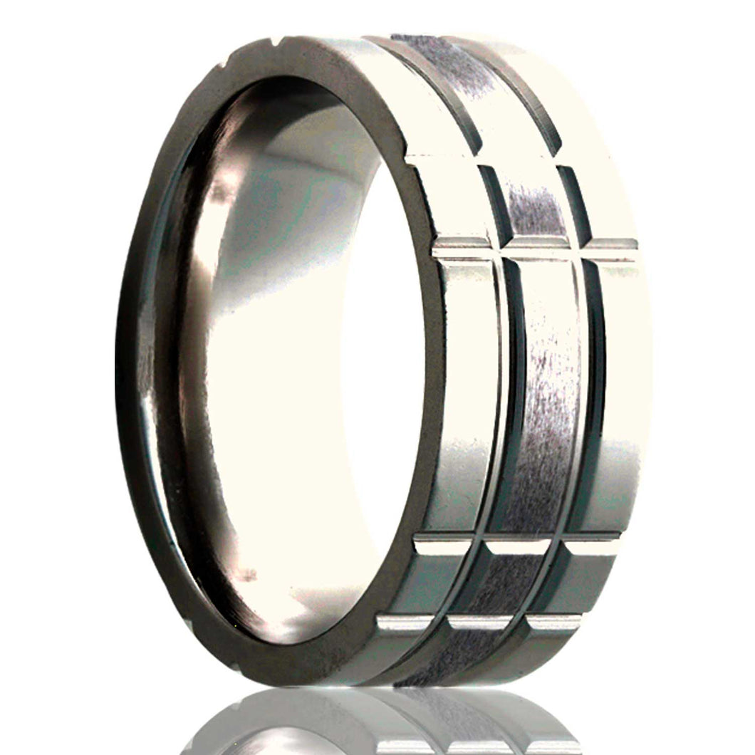 Flat Cobalt ring with a milled pattern and a satin finish center Wedding Band-C101M3S