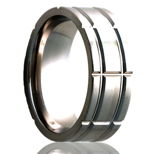 Flat Cobalt ring with a milled pattern Wedding Band-C101M5
