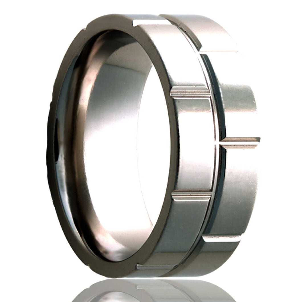 Flat Cobalt ring with a milled pattern Wedding Band-C101M8
