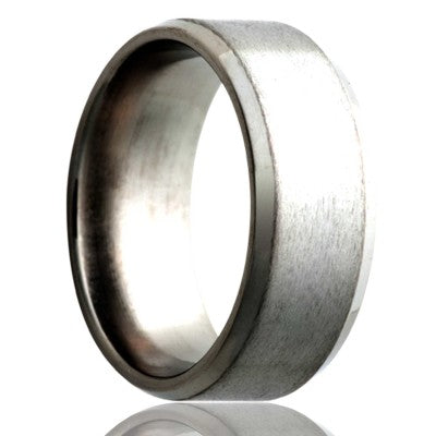Beveled-edge-stainless-steel-ring-polished-with-a-satin-center Wedding Band -S107-3