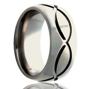 Dome Cobalt ring with a milled pattern Wedding Band-C111M1