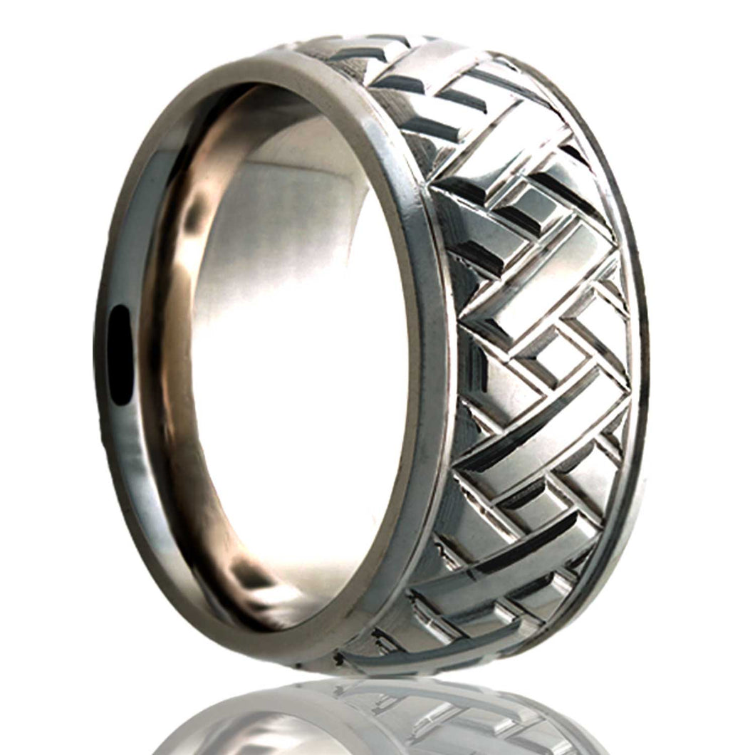 Dome Cobalt ring with a milled pattern Wedding Band-C111M17
