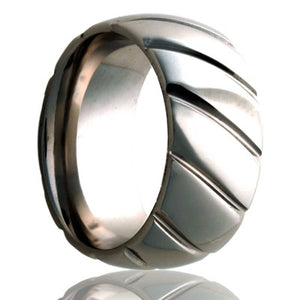 Dome Cobalt ring with a milled pattern. Wedding Band-C111M24